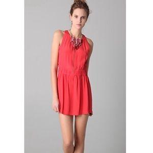 IRO Buena Rouge Orange Crepe Zip Front Dress 2